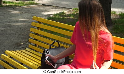 selfie, parc, jeune, banc, complet, blond, marques, girl, rouges