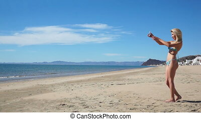 selfie, plage, bikini, girl