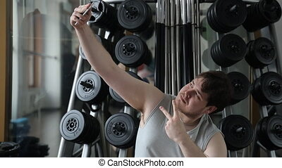 selfie, type, gymnase, graisse