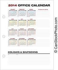 semaine, bureau, vecteur, nombres, propre, 2014, calendrier, constitué