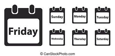 semaine, ensemble, icône, jour, monochrome