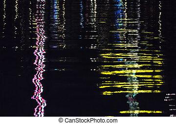 semaine, festival, surface, eau, lumières, allemagne, nuit, réflecteur, kiel
