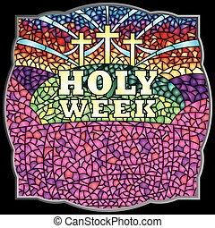 semaine, lettrage, bible, christ, saint, cadre, image, taché, -, verre, thème, vecteur, noir, crucifixion