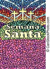 semaine, lettrage, christ, bible, langue, saint, image, taché, -, espagnol, verre, thème, vecteur, santa, semana, crucifixion