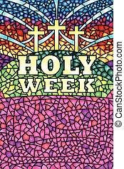 semaine, lettrage, christ, bible, saint, image, taché, -, verre, thème, vecteur, crucifixion