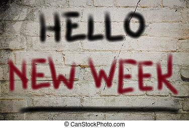 semaine, nouveau, concept, bonjour