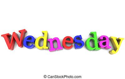 semaine, sur, multicolore, fond, blanc, mercredi, jour