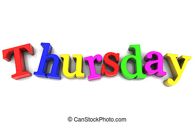 semaine, sur, multicolore, fond, jeudi, blanc, jour