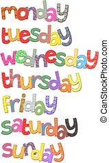 semaine, texte, art, jours, agrafe