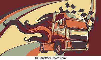 semi, illustration, conception, dessin animé, truck., vecteur