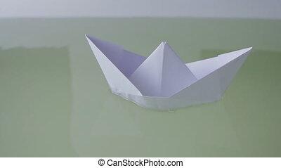 sends, nautisme, quelques-uns, main, eau, papier, homme, bateau