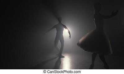 sensuelles, silhouette, danseurs, professionnel, couple, ballet, fumée, exécuté, love., classique, projection, pratiquer, scène, sombre, choreographers, art., 4k