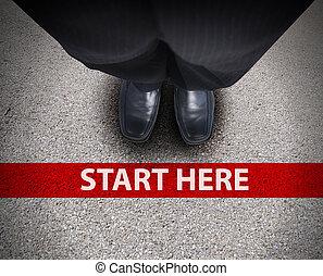 sentier, business, route, homme, ligne, commencer