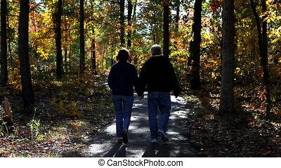 sentier, couple, mûrir, promenade