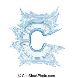 sentier, coupure, case., c.upper, font., cristal, lettre, glace