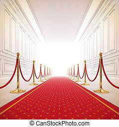 sentier, light., rouges, reussite, moquette