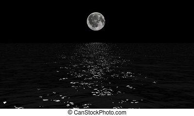sentier, lune, idiot, au-dessus, bas, mer, clair lune