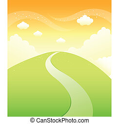 sentier montagne, sur, ciel, vert