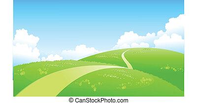 sentier, sur, courbé, paysage, vert