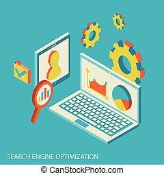 seo, analyse, analytics, conception, site web, isométrique, concept, moderne, données
