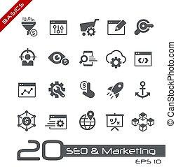 seo, martketing, numérique, &, 1, 2, //, icônes, élémentsessentiels
