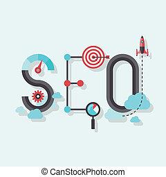 seo, plat, mot, illustration