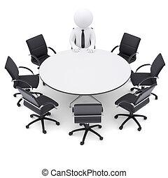 sept, chaises, homme, table., rond, vide, 3d