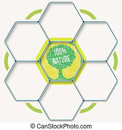 sept, ensemble, texte, symbole, arbre, hexagones, ton