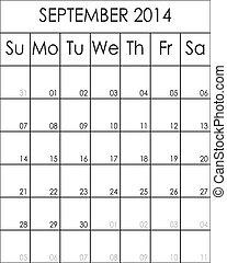 septembre, 2014, costumizable, fichier, grand, eps, planificateur, calendrier