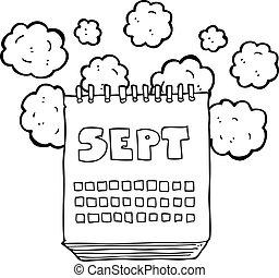 septembre, projection, mois, noir, blanc, calendrier, dessin animé