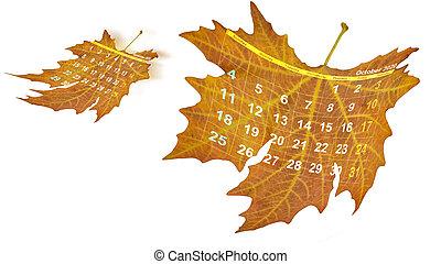 septembre, tomber, -, 3d, calendrier, 2020, octobre, feuille, voler, isolé, rendre