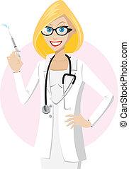 seringue, blond, docteur
