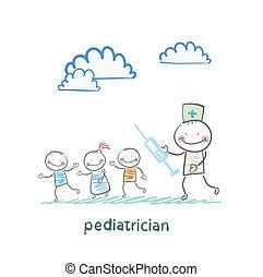 seringue, courses, pédiatre, enfants