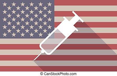 seringue, drapeau, usa, icône
