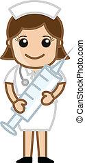 seringue, mignon, infirmière, tenue