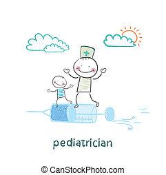 seringue, voler, pédiatre, enfant malade
