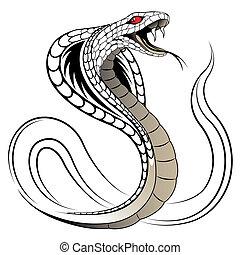 serpent, vecteur, cobra
