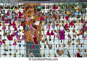 serrures, amour, pont