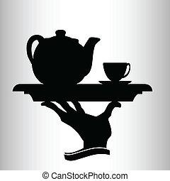 serveur, apporte, vecteur, silhouette, thé