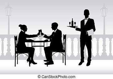 serveur, couple, restaurant