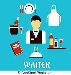 serveur, plat, vaisselle, profession, icônes