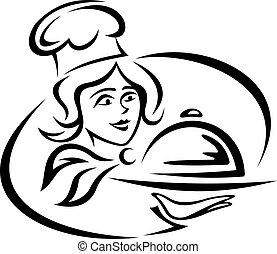 serveur, plateau nourriture, jeune