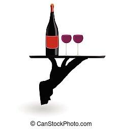 serveur, plateau portant, lunettes, vin