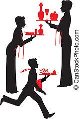 serveur, plateau, silhouette
