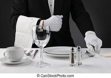serveur, table, montage dîner, formel