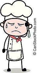serveur, -, triste, chef cuistot, vecteur, illustration?, mâle, dessin animé