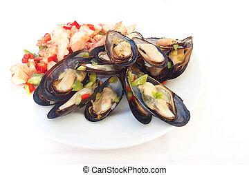 servi, légumes, frais, plaque, coloré, moules, blanc, déjeuner