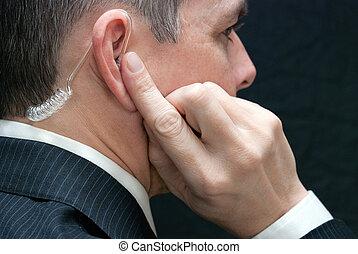 service, écouteur, agent, top secret, fin, côté, écoute