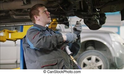 service, automobile, -, haut, détail, mécanicien, voiture, fin, unscrews, réparation, capuchon
