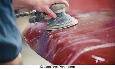service, automobile, -, ouvrier, haut, polishes, voiture, fin